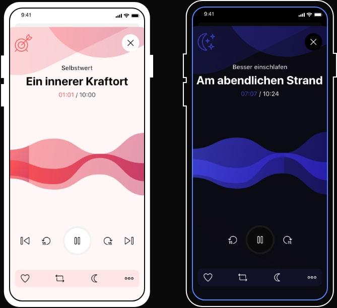 Player sonamedic Meditationsapp Nachtmodus