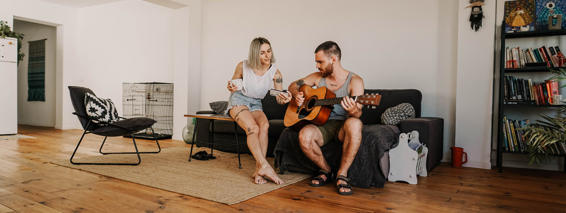Music relaxes, man and woman