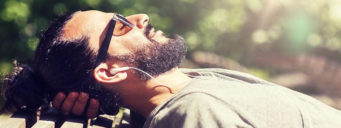 relaxing, headphones
