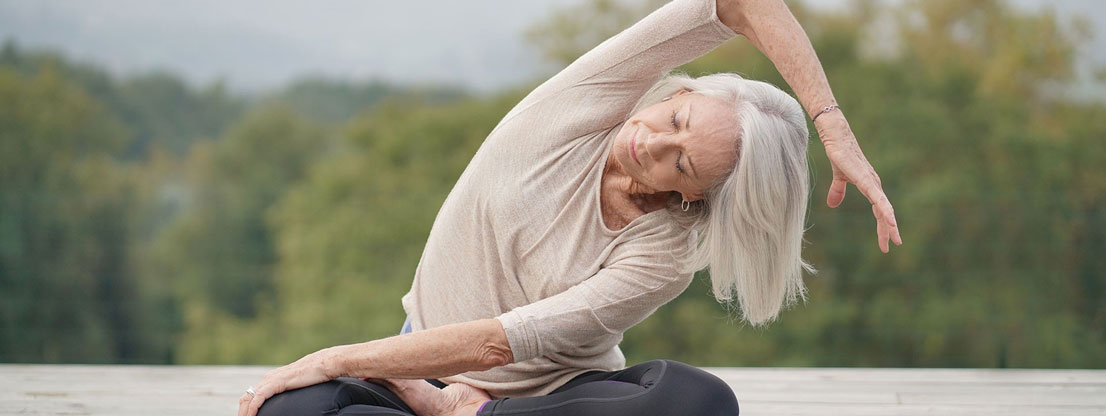 Woman moving in lotus position