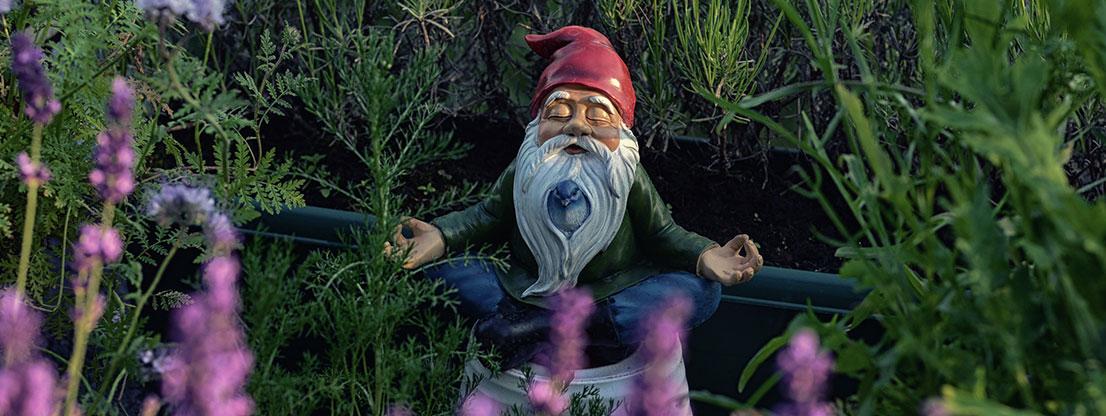 Garden gnome meditating