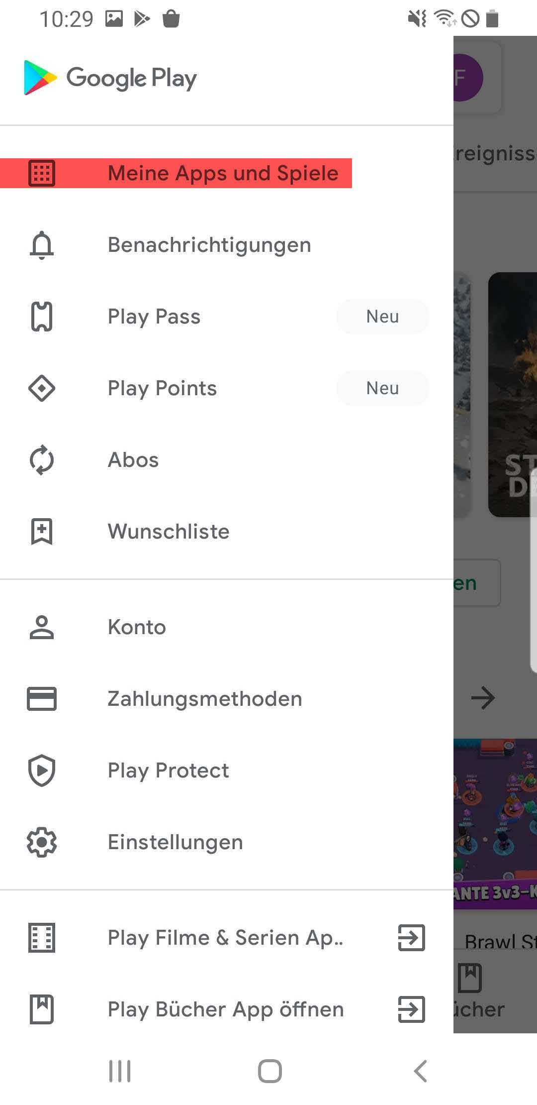 Meine Apps und Spiele im Google Play Store