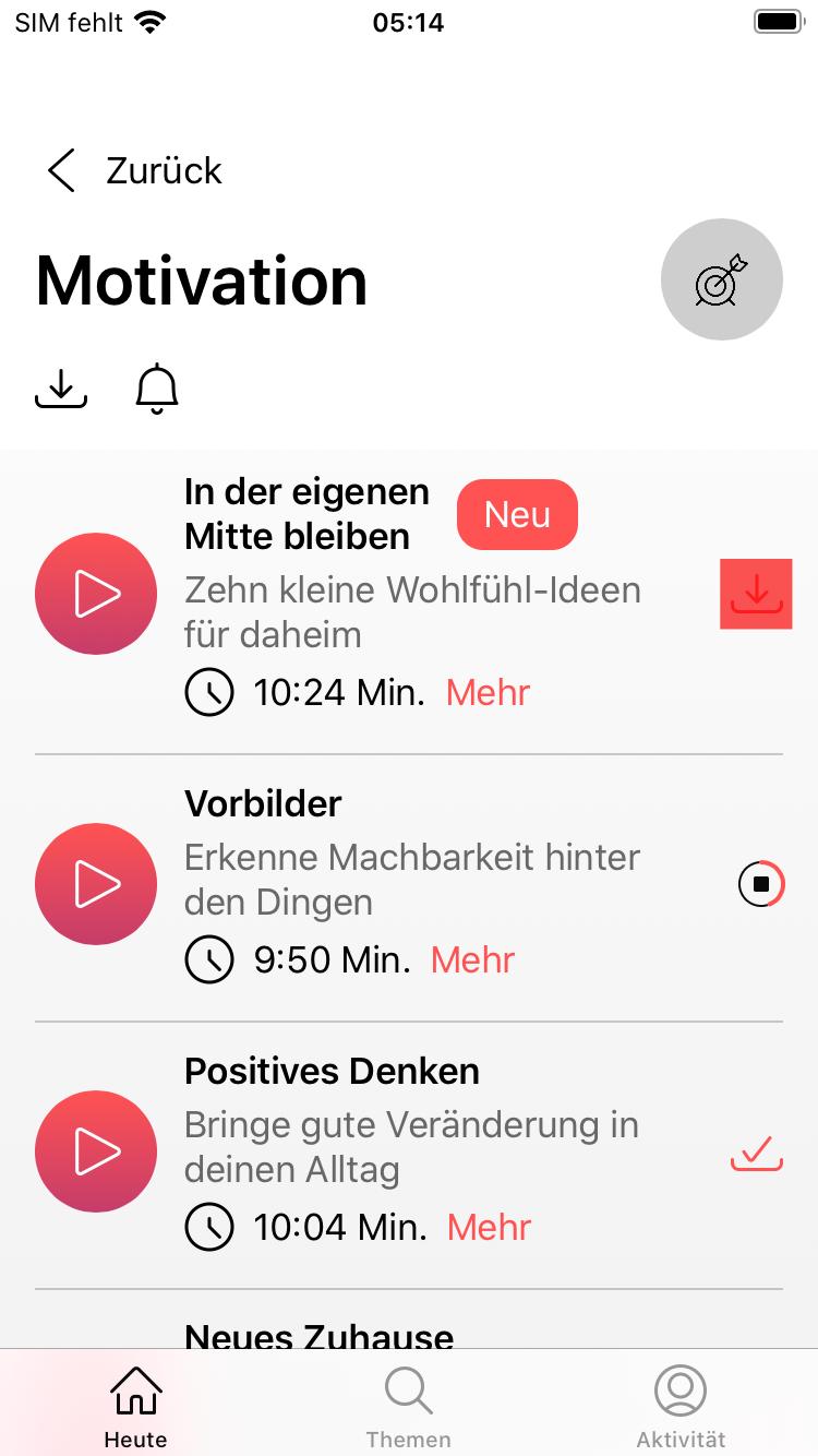 Downloadfunktion für Meditationen