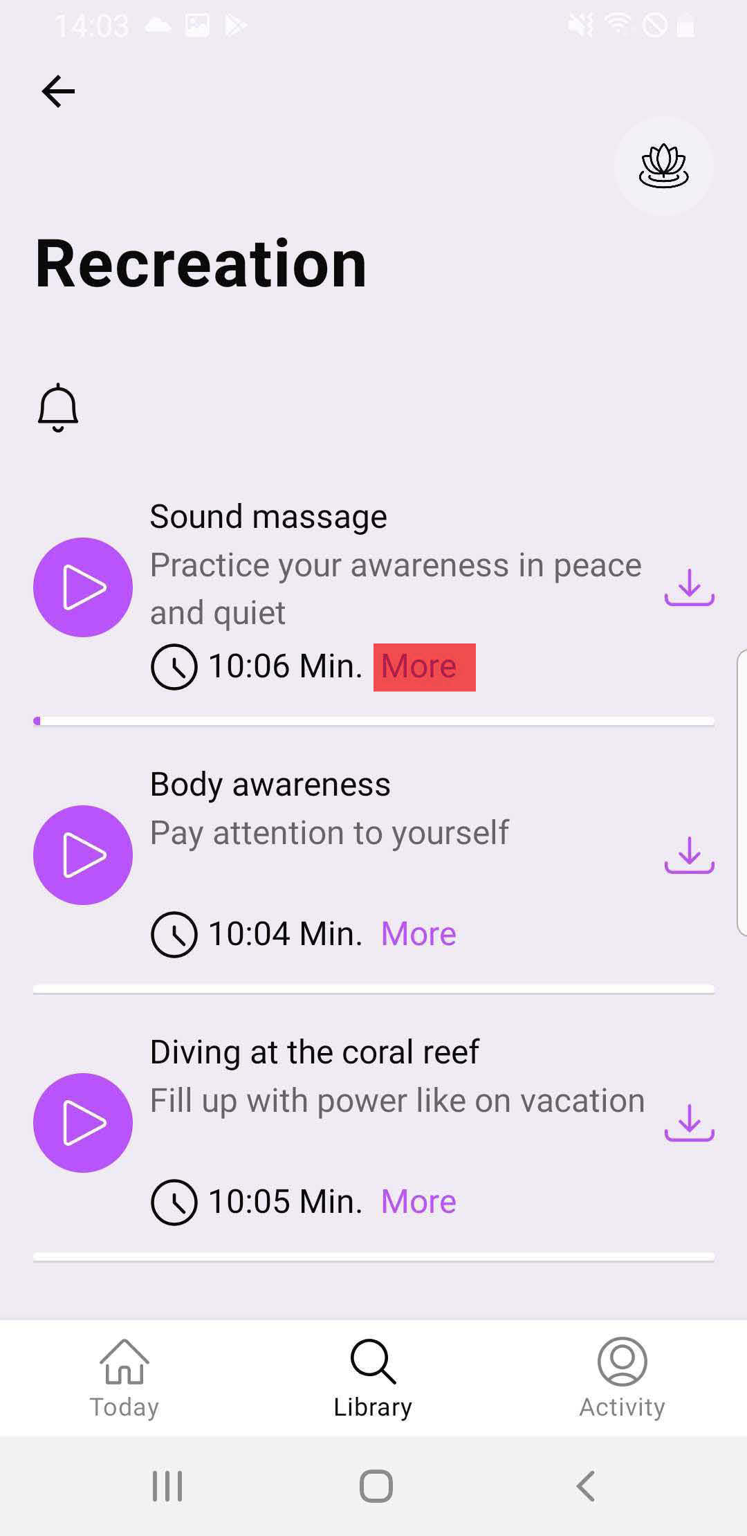 Show more informations about a meditation