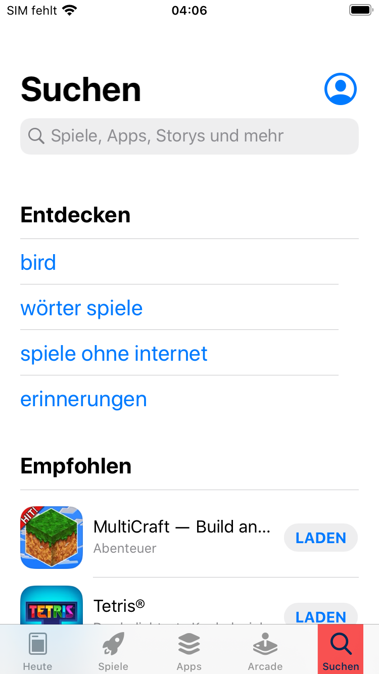 Suche App Store