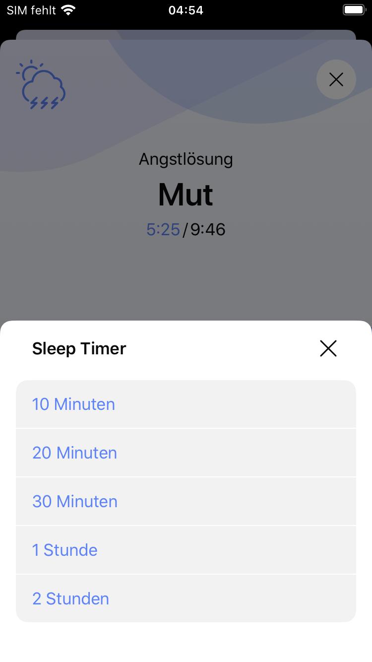 Wähle im Sleep Timer eine Zeit aus