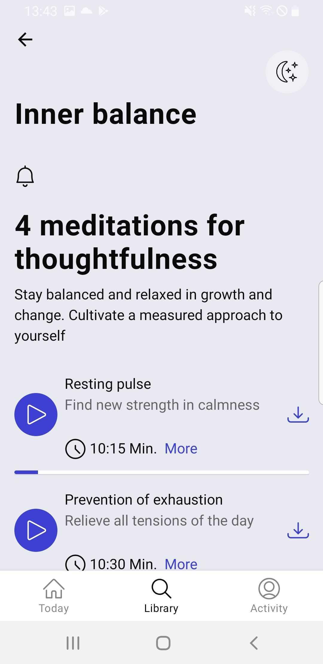 Meditations in a sleep playlist