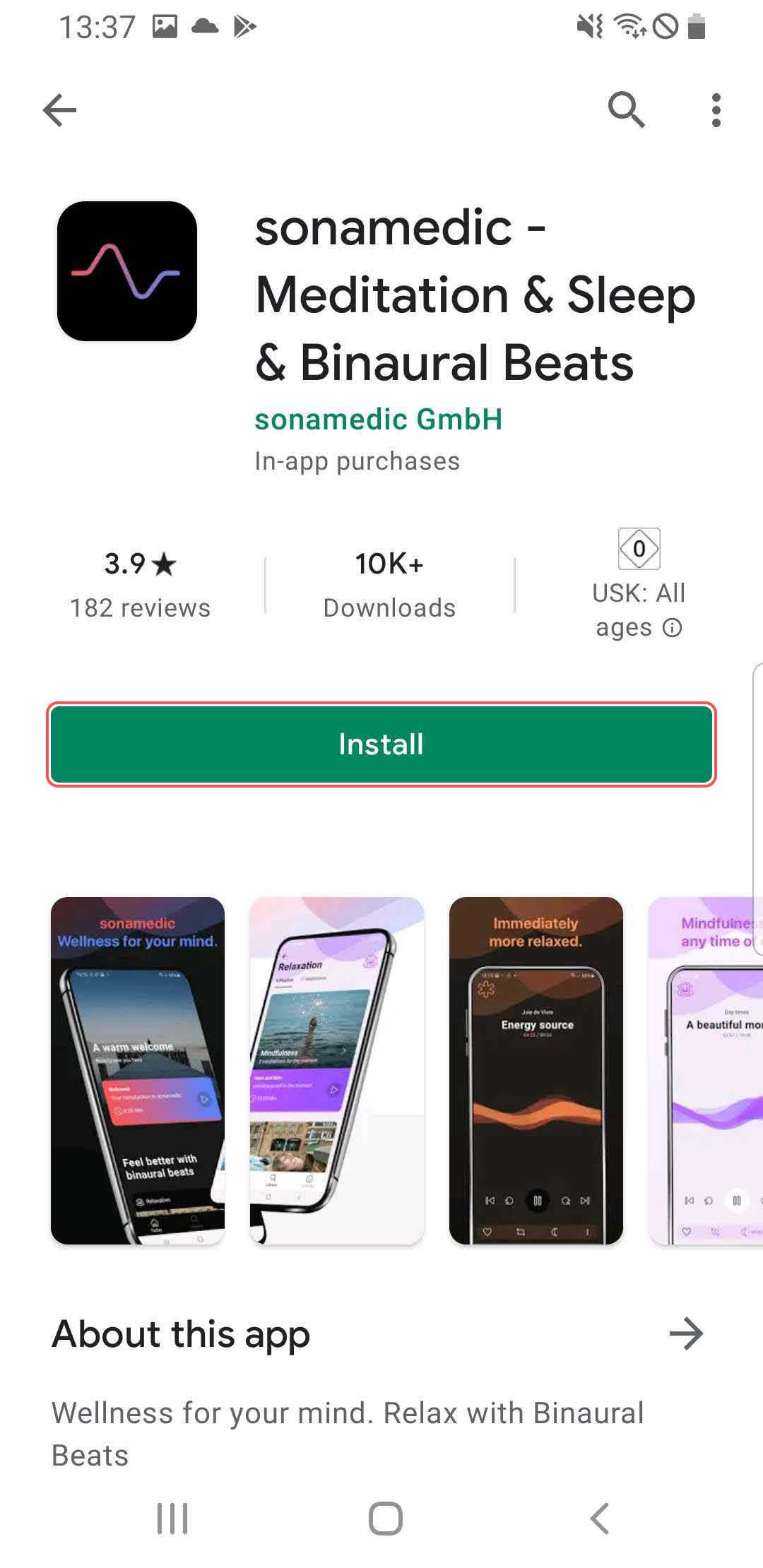 Install sonamedic from Google Play Store