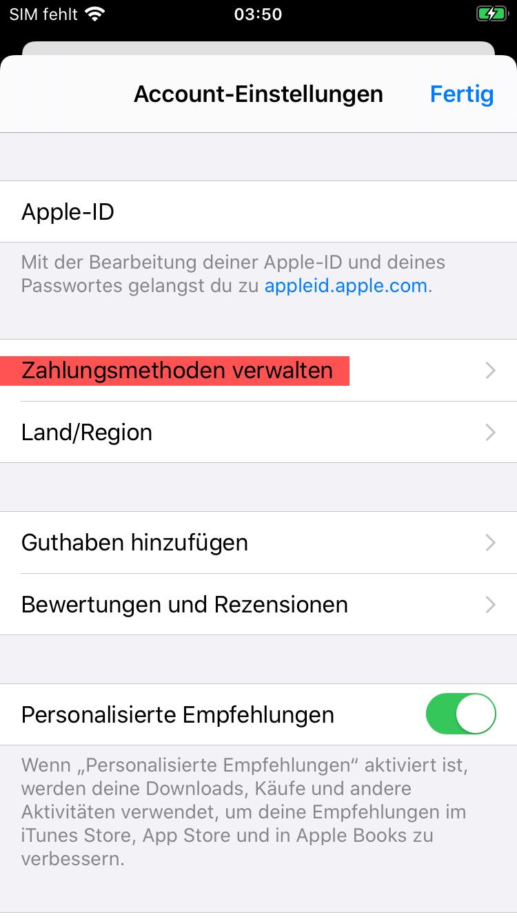 Zahlungsmethoden verwalten Screen