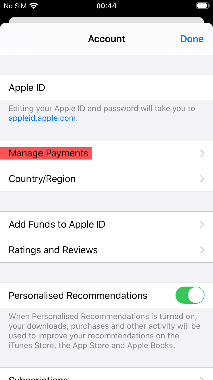 Manage Payment Screen