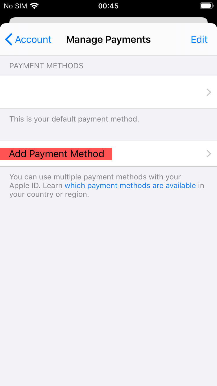 Add Payment method Screen App Store
