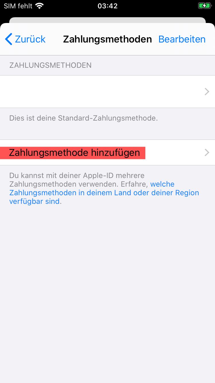 Zahlungsmethode hinzufügen Apple App Store