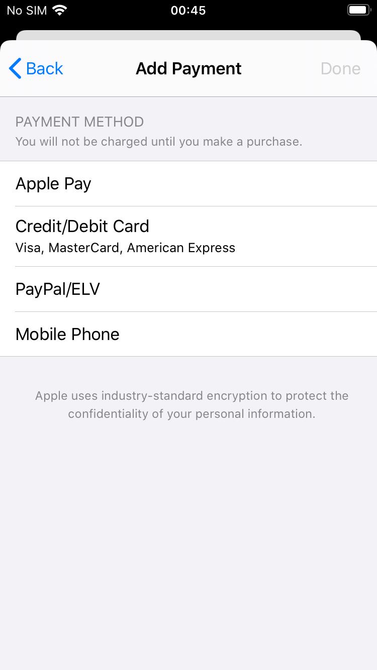 Payment methods Screen App Store