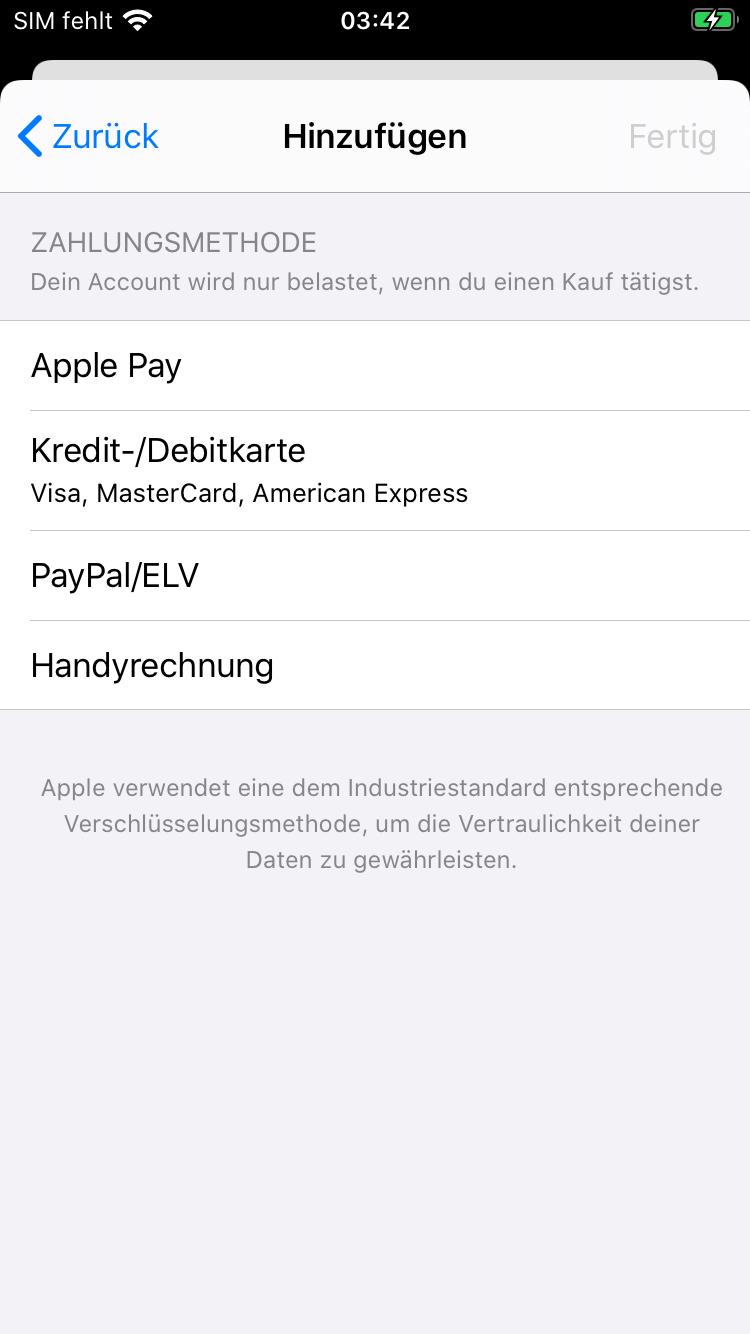 Verschiedene Zahlungsmethoden im App Store