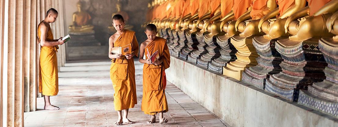 Buddhist monks in monastery