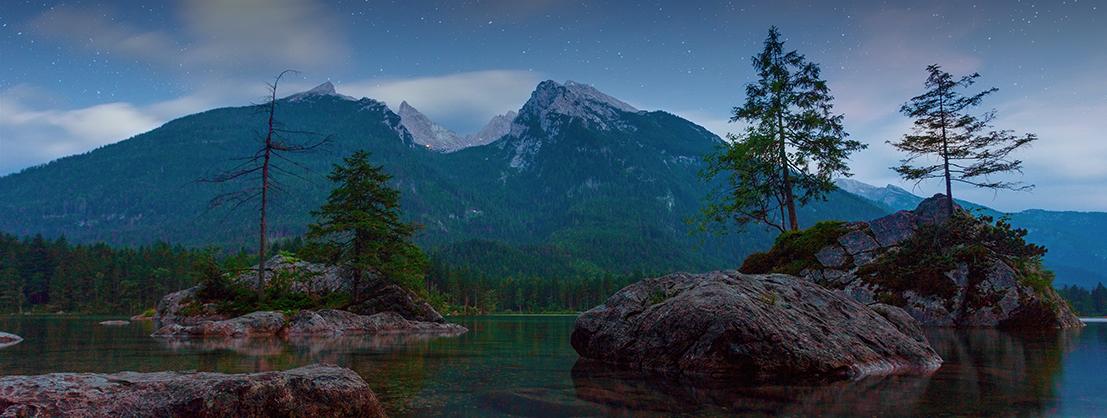 Mountain lake, recreation in nature