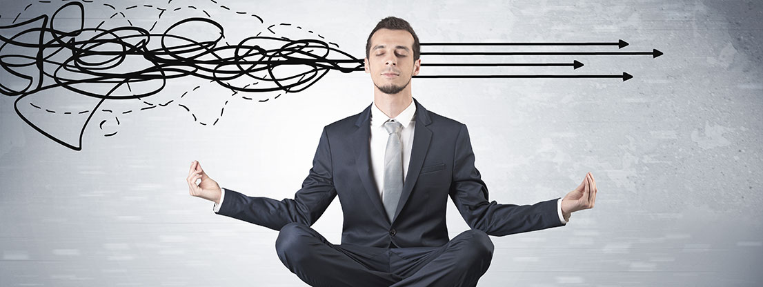 Man meditates, no stress at work