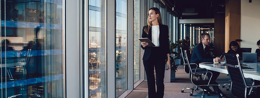 Woman at work, walking meditation