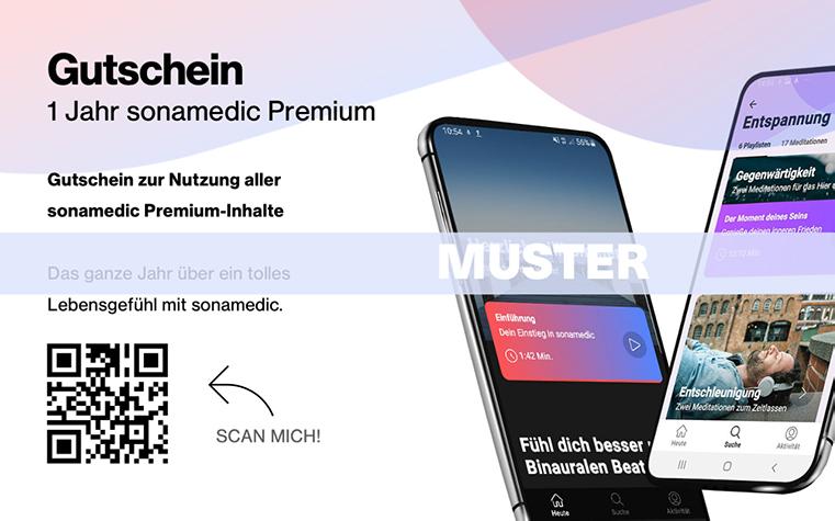 Muster Gutschein sonamedic Mesitationsapp