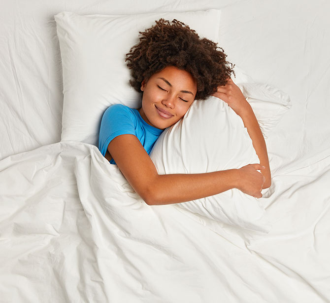 Woman sleeping relaxed